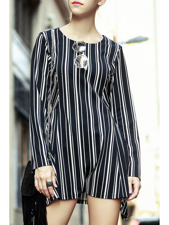 women's Striped Jewel Neck Long Sleeve Dress - WHITE AND BLACK S