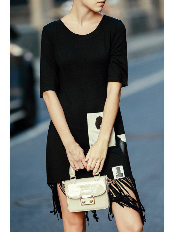 shops Tassels Spliced Half Sleeve Dress - BLACK S