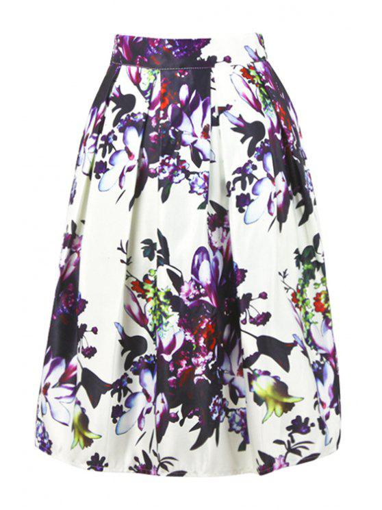 lady High-Waisted Floral Ruffled Skirt - WHITE ONE SIZE(FIT SIZE XS TO M)