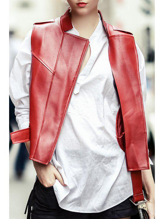 sale Red PU Leather Stand Neck Jacket - RED S