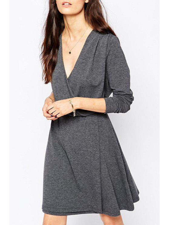 outfit Gray Plunging Neck Long Sleeve A Line Dress - GRAY S