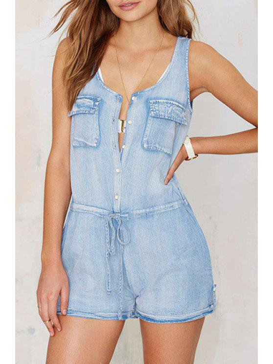 outfit Denim Sleeveless Scoop Neck Single-Breasted Romper - BLUE XS