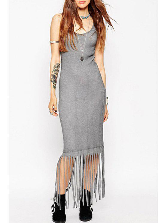 trendy Gray Tassels Scoop Neck Sundress - GRAY S