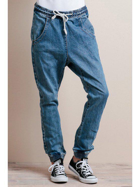 hot Blue Drawstring Elastic Waist Jeans - BLUE L