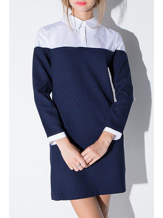 hot Color Block 3/4 Sleeves Flat Collar Shirt Dress - BLUE AND WHITE XS