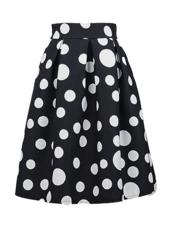 shop Polka Dot Ruffled Midi Skirt - BLACK L