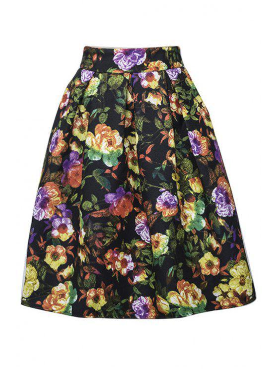 shops Full Floral Ruffled Midi Skirt - BLACK M