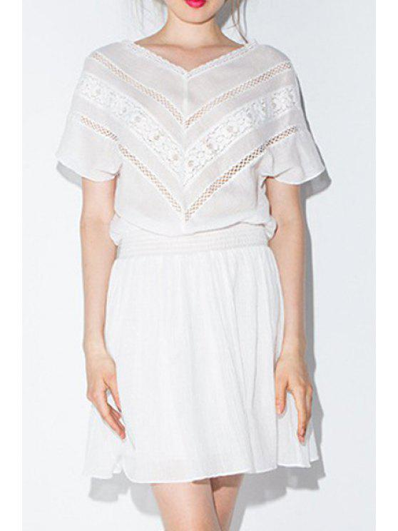 outfit Lace Spliced V-Neck Short Sleeves Mesh Waisted Dress - WHITE XS