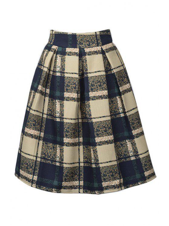 trendy High-Waisted Plaid Ruffled Midi Skirt - BLACK M
