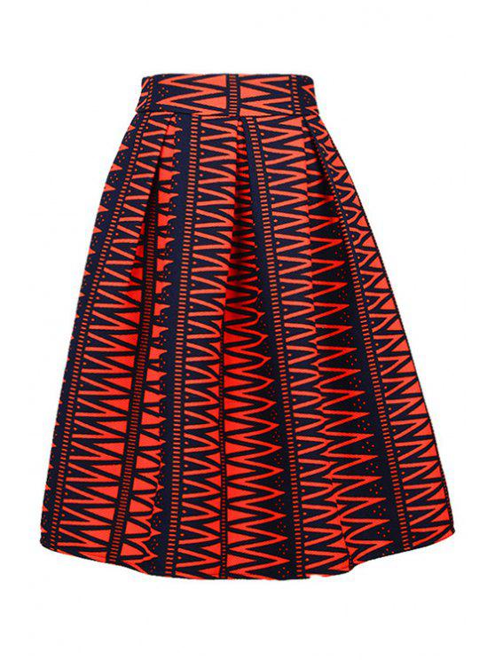 unique High-Waisted Printed Ruffled Midi Skirt - RED M