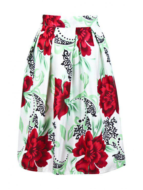 best High-Waisted Flower Print Midi Skirt - WHITE ONE SIZE(FIT SIZE XS TO M)
