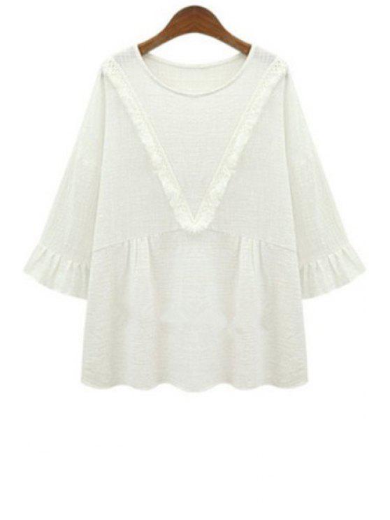 fancy Solid Color Long Sleeves V Pattern Fringes T-Shirt - WHITE S