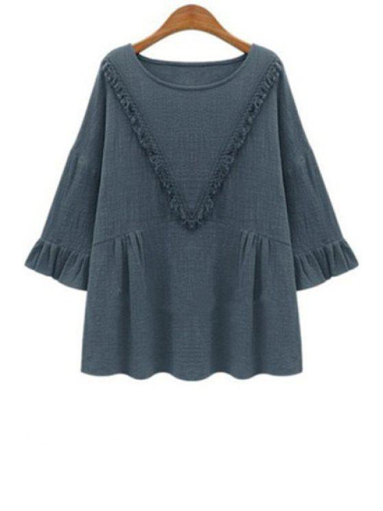 women's Solid Color Long Sleeves V Pattern Fringes T-Shirt - GRAY XL