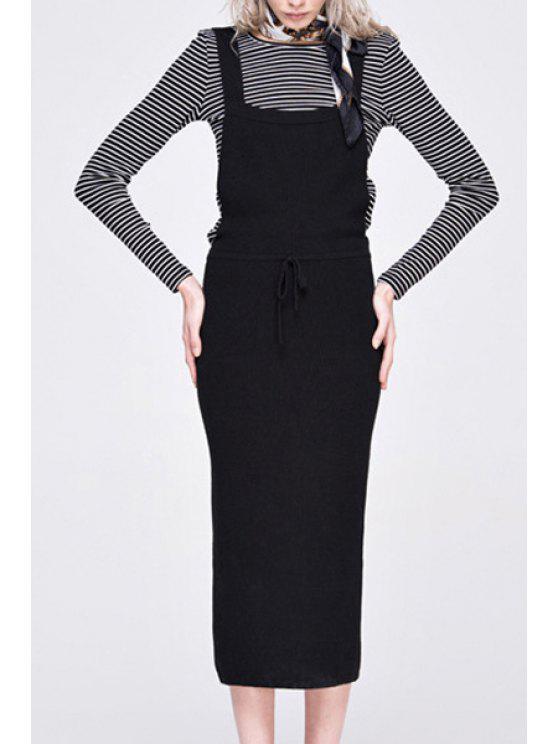 online Black Square Collar Sleeveless Pencil Dress - BLACK S