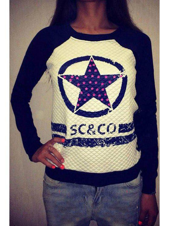 shops Star Print Long Sleeves Sweatshirt - DEEP BLUE S