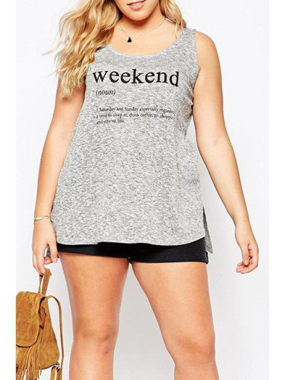 chic Letter Print Plus Size Tank Top - GRAY S