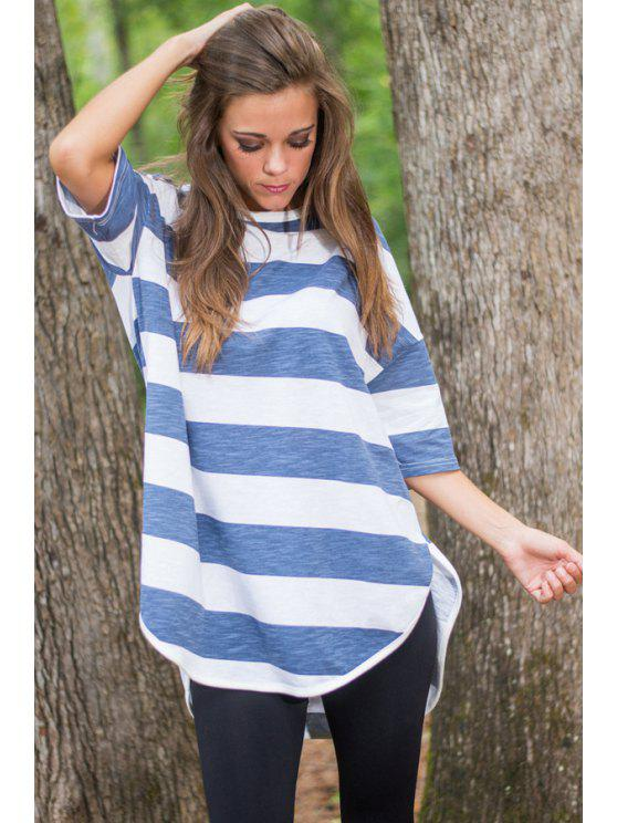 shop Striped Round Collar Half Sleeves Plus-Sized T-Shirt - BLUE AND WHITE S