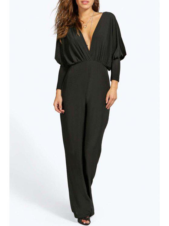 fashion Backless Plunging Neck Long Sleeves Solid Color Jumpsuit - BLACK S