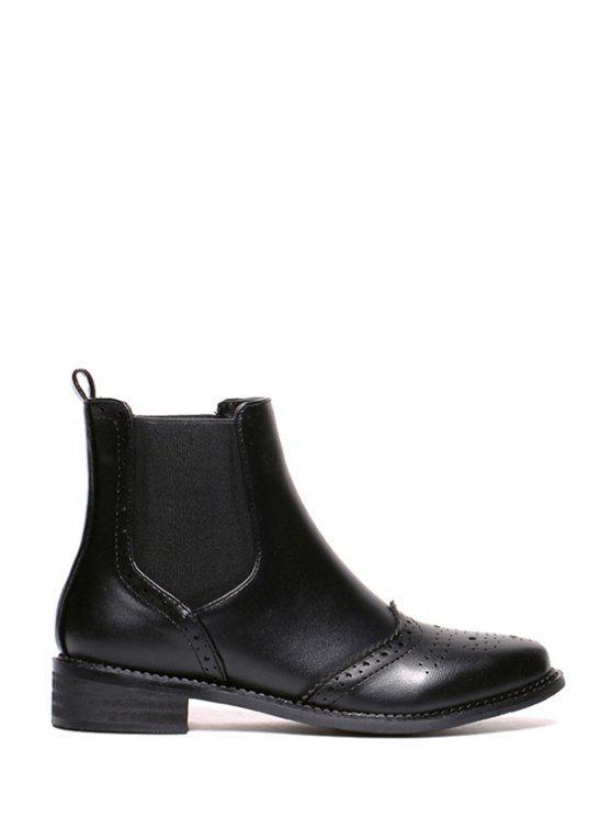 sale Engraving Black Elastic Short Boots - BLACK 35