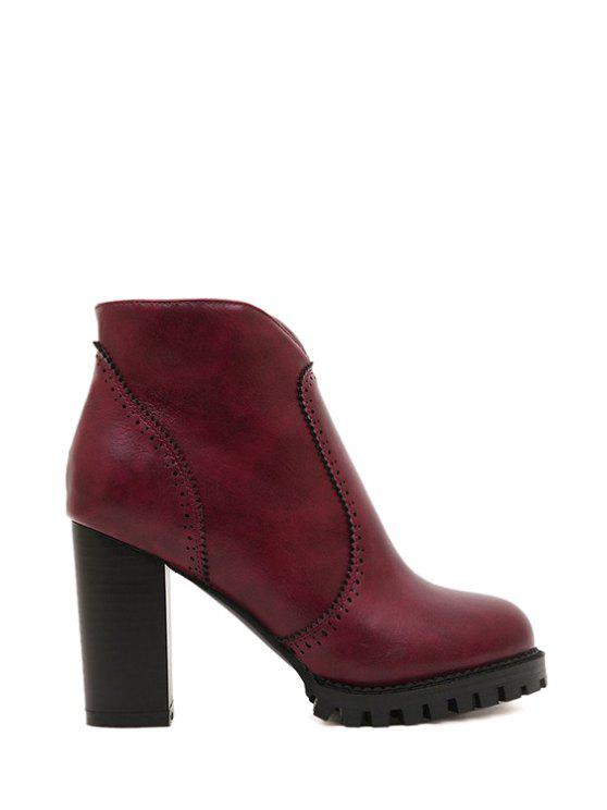 women's Chunky Heel Solid Color Engraving High Heel Boots - WINE RED 34