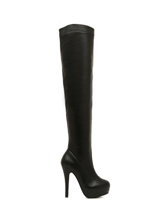 women's Stiletto Heel Platform Black Thigh Boots - BLACK 35
