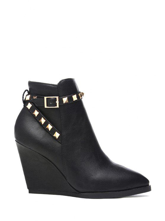 fancy Rivet Pointed Toe Wedge Heel Short Boots - BLACK 35