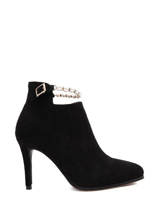 lady Beading Suede Pointed Toe Short Boots - BLACK 35