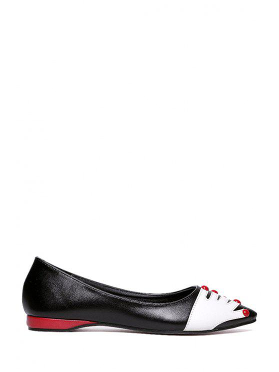 trendy Hand Print Pointed Toe Rivet Flat Shoes - BLACK 35