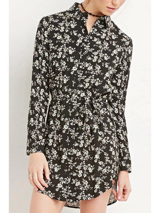best Long Sleeve Tiny Floral Chiffon Dress - BLACK XS