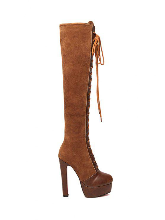 ladies Criss-Cross Platform Suede Knee-High Boots - BROWN 35