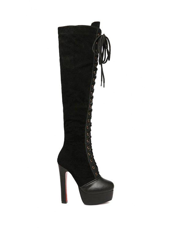 ab4fbdd615a 41% OFF  2019 Criss-Cross Platform Suede Knee-High Boots In BLACK ...