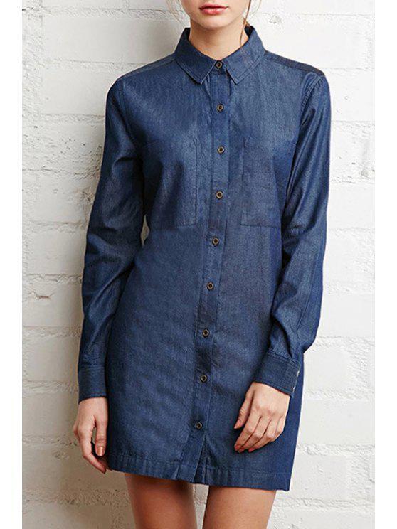 women Long Sleeve Denim Shirt Dress - BLUE XS