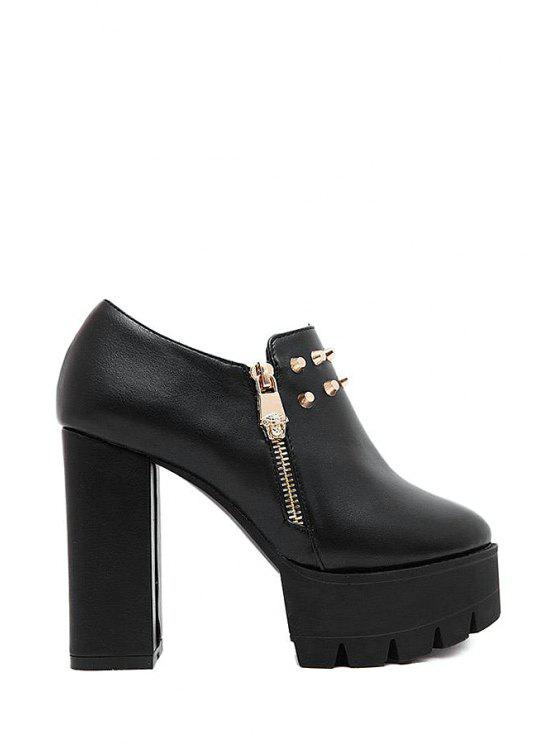 ladies Rivet Chunky Heel Platform Ankle Boots - BLACK 37