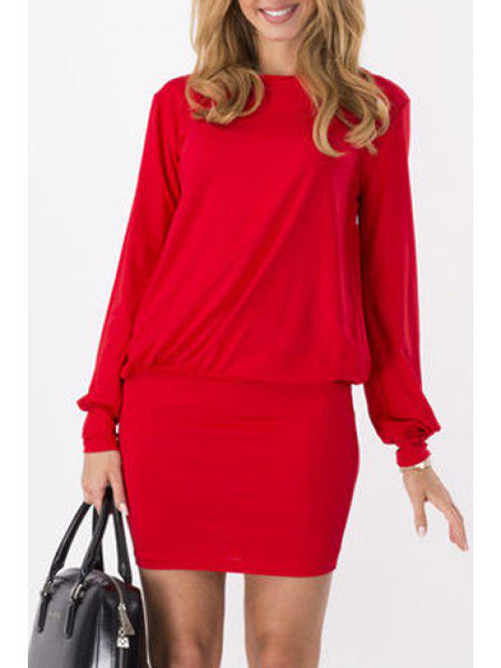 lady Pure Color Long Sleeves Packet Buttock Dress - RED M