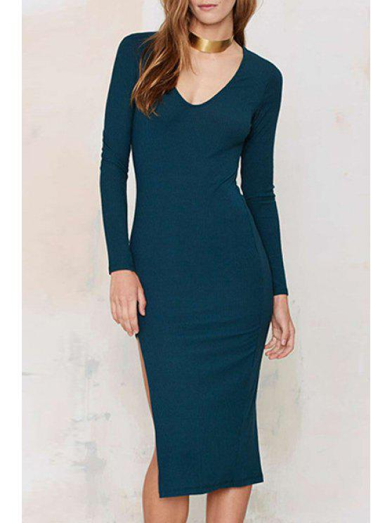 hot Long Sleeve Side Slit Blue Dress - BLUE M
