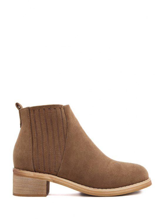 chic Elastic Solid Color Stitching Short Boots - BROWN 35