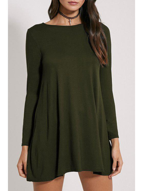 womens Long Sleeve A-Line Dress - ARMY GREEN S