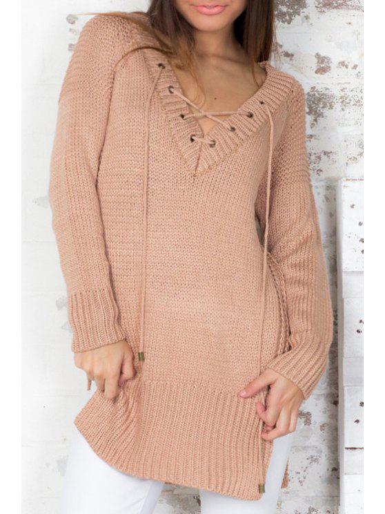 fashion V Neck Lace-Up Side Slit Sweater - KHAKI ONE SIZE(FIT SIZE XS TO M)