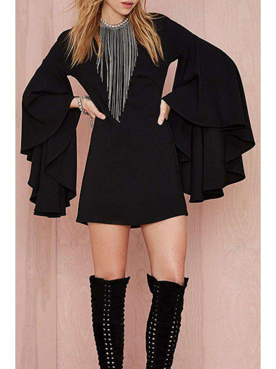 outfits Black Round Neck Long Sleeve A Line Dress - BLACK XS