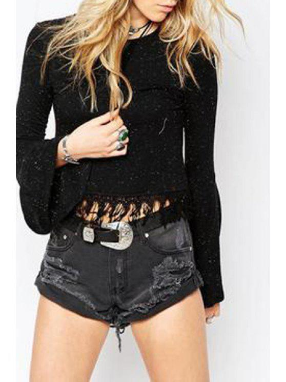 sale Solid Color Round Collar Long Bell Sleeves T-Shirt - BLACK S