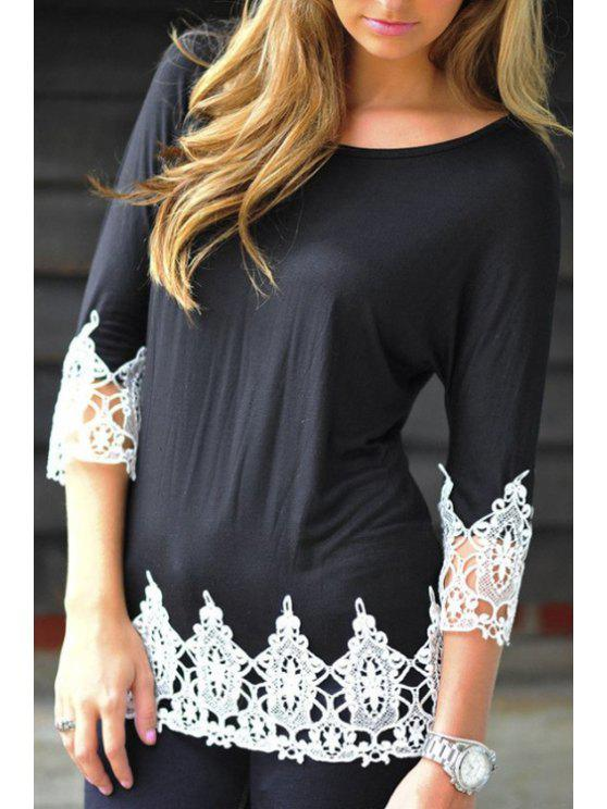 best White Lacework Spliced Round Collar 3/4 Sleeves T-Shirt - BLACK S