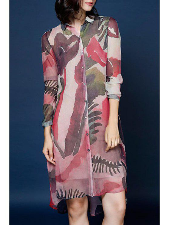 lady Abstract Print Shirt Neck Long Sleeve Dress - RED M