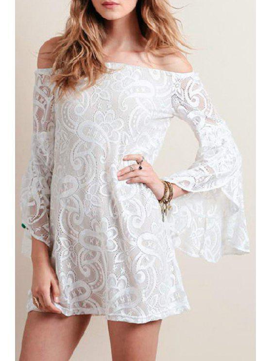 hot White Lace Hook Slash Neck Long Bell Sleeves Dress - WHITE XS