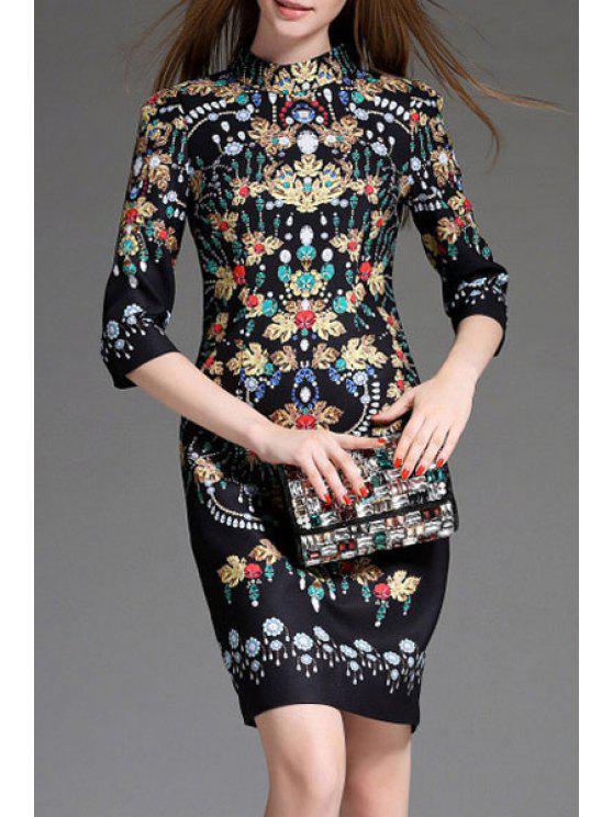 shop Jewel Print Stand Neck 3/4 Sleeve Dress - BLACK M