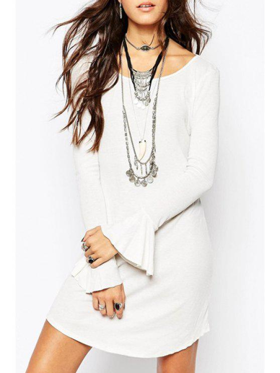 outfit Bell Sleeve Hollow Back White Dress - WHITE L