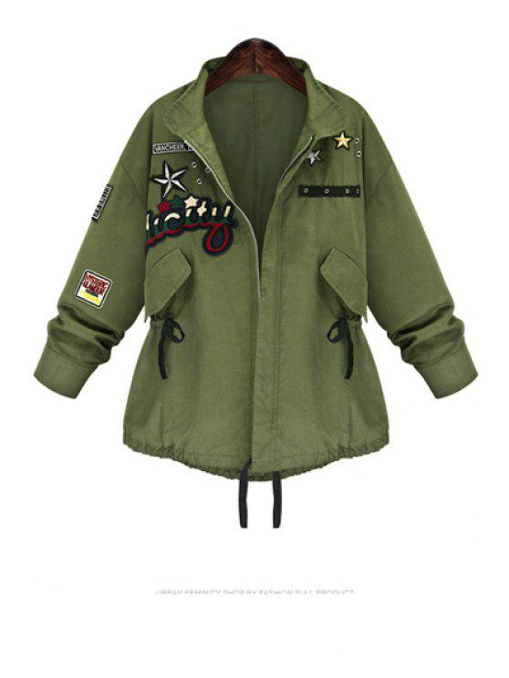hot Star Pattern Turn Down Collar Parka Coat - ARMY GREEN S