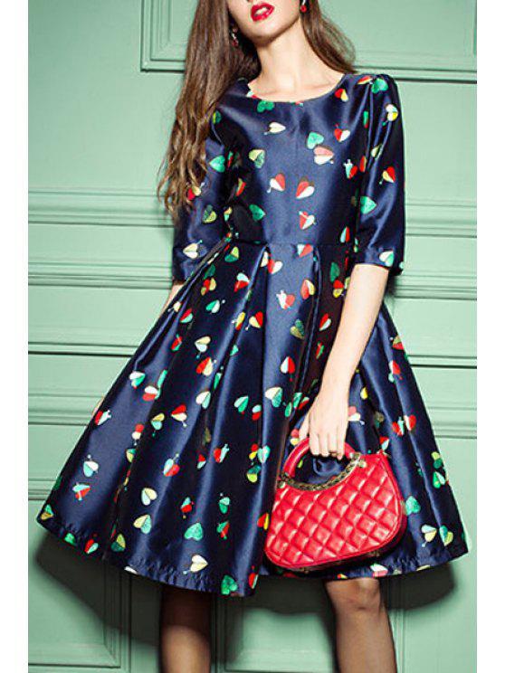 trendy Heart Print 3/4 Sleeve Midi Dress - CADETBLUE S