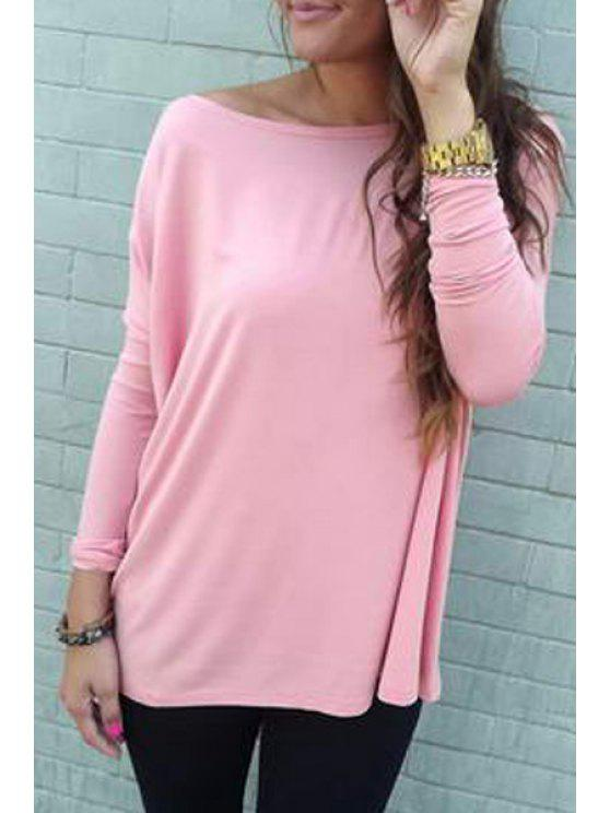 online Pure Color Boat Neck Long Batwing Sleeves T-Shirt - PINK S