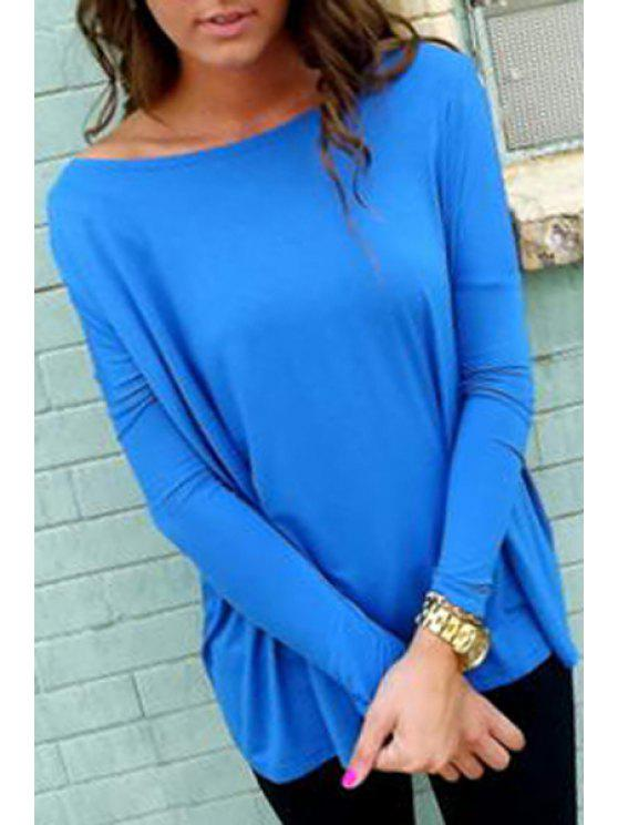 buy Pure Color Boat Neck Long Batwing Sleeves T-Shirt - BLUE XL