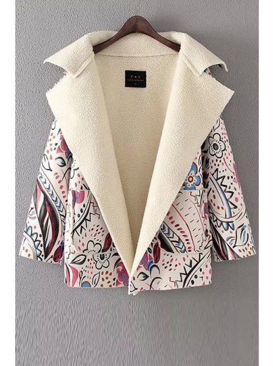shops Flower Print Turn Down Collar Long Sleeve Coat - OFF-WHITE S